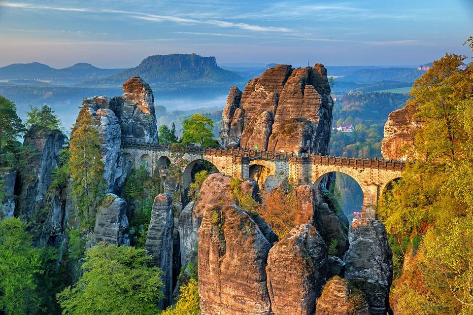 Basteibrücke im Elbsandsteingebirge.